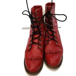 Vintage Justin's Red Lace-up Boots Size W5B